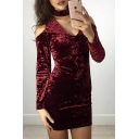 New Stylish Cold Shoulder Long Sleeve Plain Keyhole Front Mini Dress