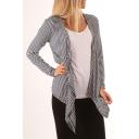 Simple Leisure Striped Pattern Waterfall Collar Long Sleeve Coat