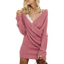 New Fashion Simple Plain V-Neck Long Sleeve Shift Mini Dress