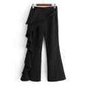New Stylish Ruffle Embellished Striped Print Zip Fly Leisure Flared Pants