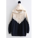 Long Sleeve Lace Insert Color Block Winter Hoodie with Pompom