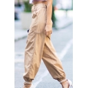 New Fashion Leisure Simple Plain High Waist Harem Pants
