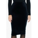 New Stylish Split Back Simple Plain Midi Bodycon Velvet Skirt