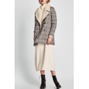 New Stylish Notched Lapel Long Sleeve Classic Plaid Coat
