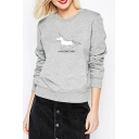 Simple Cartoon Print Round Neck Long Sleeve Pullover Sweatshirt