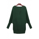 Simple Plain Round Neck Buttons Placket Batwing Long Sleeve Pullover Sweater
