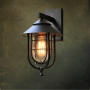 Industrial Wall Sconce in Nautical Style with Metal Cage, Black