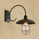 Industrial Wall Sconce with Arched Fixture Arm in Black Finish