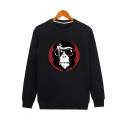 Cartoon Print Round Neck Long Sleeve Comfort Sweatshirt