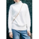 Chic Simple Plain High Neck Long Sleeve Pullover Sweater