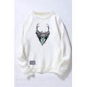 Fashion Deer Print Round Neck Long Sleeve Unisex Pullover Sweatshirt