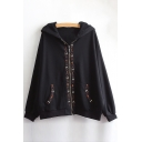 New Fashion Embroidered Trim Zippered Long Sleeve Hooded Coat