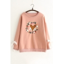 New Fahion Cartoon Fox Embroidered Round Neck Long Sleeve Pullover Sweatshirt
