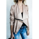 New Fashion Lapel Zip Placket Long Sleeve Suede Jacket