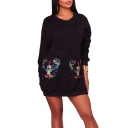 New Fashion Tiger Head Sequined Round Neck Long Sleeve Mini Dress