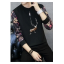 Men's Fashionable Deer Embroidered Round Neck Long Sleeve Pullover Sweatshirt