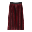 New Stylish Elastic Waist Simple Plain Pleated Skirt