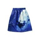 Fashionable Deer Print A-Line Midi Skirt