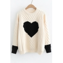 Color Block Heart Pattern Contrast Cuff Long Sleeve Sweater