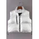 New Stylish Lapel Zipper Cropped Padded Vest Coat