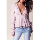 Chic Sexy V-Neck Pleated Hem Long Sleeve Blouse