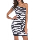New Fashion Zebra Print One Shoulder Skinny Bodycon Mini Dress