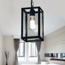 Industrial Ceiling Pendant Light with 9.84''W Rectangle Glass Shade, Black