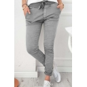 New Stylish Drawstring Elastic Waist Simple Plain Skinny Leisure Pants