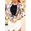 New Stylish Floral Print Long Sleeve Stand-Up Collar Zipper Jacket