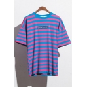 New Stylish Letter Striped Print Round Neck Short Sleeve Tee