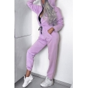 New Fashion Simple Plain Long Sleeve Hooded Zip Up Jumpsuit