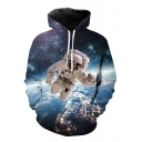 Astronaut Space Galaxy Printed Long Sleeve Pullover Hoodie with Pocket