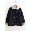 Lovely Cat Embroidered Lapel Long Sleeve Buttons Down Woolen Coat