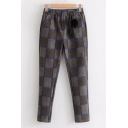 New Stylish Plaid Print Elastic Waist Pom Pom Embellished Leisure Pants