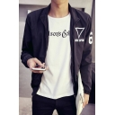 Simple Stand-up Collar Geo Letter Pattern Long Sleeves Zippered Jacket with Pockets