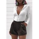 New Stylish Keyhole Long Sleeve Zipper Simple Plain Hooded Bodysuit