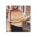 New Stylish Off Shoulder Long Sleeve Pullover Sweater