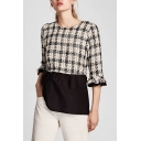 Chic Plaid Round Neck Half Sleeve Pullover Blouse