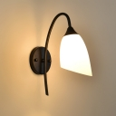 Industrial Wall Light with 3.93''W White Glass Shade