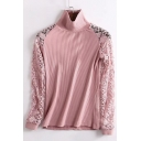 Simple Plain Crochet Lace Panel Long Sleeve Turtleneck Pullover Sweater