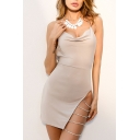 Sexy Plain Halter Neck Split Side Hollow Out Shift Mini Dress