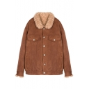 Women's Warm Simple Plain Lapel Long Sleeve Buttons Down Coat