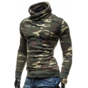 New Stylish Camouflage Print Turtleneck Long Sleeve Hoodie