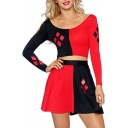 Color Block Boat Neck Long Sleeve Cropped Tee with High Waist A-Line Mini Skirt