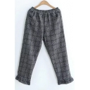 New Fashion Chic Plaid Elastic Waist Pants