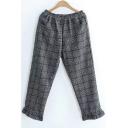 New Fashion Chic Plaid Elastic Waist Pants