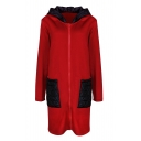 New Stylish Color Block Print Long Sleeve Zipper Leisure Tunic Hooded Coat