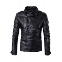 New Stylish Long Sleeve Simple Plain Zipper Faux Leather Biker Jacket