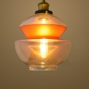Industrial Pendant Light with 8.66''W Clear Glass Shade