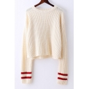 Chic Ribbed Round Neck Long Sleeve Pullover Sweater